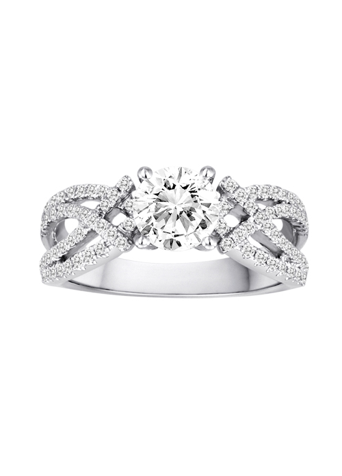 DIADORI Engagement Ring - DIADORI DFWR4918 18K White Gold Contemporary Engagement Ring with .40ctw of diamonds  (does not include the center stone, made to hold a 1ct round center stone but can be modified for any shape or size center)