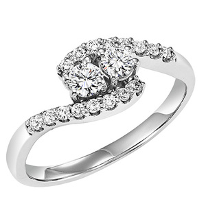 Fashion Ring - Lady's White 14 Karat Twogether Fashion Ring Size 7 With 2=0.14Tw Round G/H Si2 Diamonds And 20=0.11Tw Round G/H Si2 Diamonds
