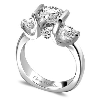 Ring - CLAUDE THIBAUDEAU La Trinite' PLT-3644 18kt White Gold w/Palladium Contemporary Semi-mount Ring With 2=0.44Tw Round Diamonds And 2=0.14Tw Round Diamonds (Center Stone Not Included), Size 6.5