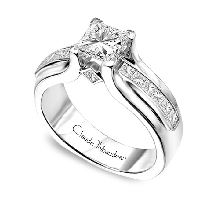 Ring - CLAUDE THIBAUDEAU White 18 Karat Contemporary Ring Size 6.75 With 12=0.48Tw Princess G/H Vs1 Diamonds And 2=0.10Tw Princess G/H Vs1 Diamonds, Gold GM Wt: 11.1 (Center Stone Not Included)