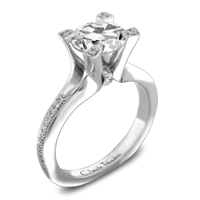 Ring - CLAUDE THIBAUDEAU PLT-3843-MP White 18 Karat Tiffany Ring Size 6.5 With 34=0.40Tw Round Diamonds, Gold GM Wt: 7 (Center Stone Not Included)