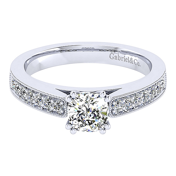 Ring - GABRIEL & CO ER3858W44JJ White 14 Karat Contemporary Ring Size 6.5 With 14=0.25Tw Round Diamonds
