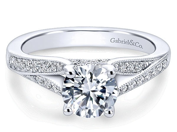 Ring - GABRIEL & CO ER6389W44JJ Lynley 14k White Gold Round Split Shank, Engagement Ring, This meticulously crafted engagement ring boasts a distinctive split-shank design created from white gold and accented with pave diamonds. * Center stone not included. Center Diamond Size: 6.5 mm - 1.00 ct Diamond Total: 0.25 ct