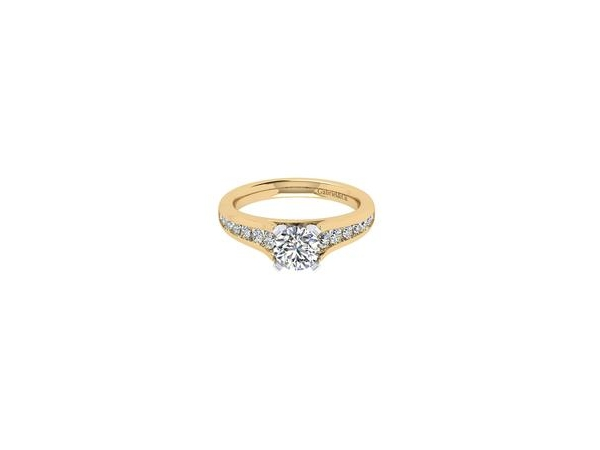 Ring - GABRIEL & CO. ER6664M44JJ 14k Yellow/white Gold Diamond Straight Engagement Ring, * Not including center stone. Diamond Total: 0.49 ct Center Stone Size: 6.5 mm - 1.00 ct Head Type: Changeable ( 0.50ct - 2.00ct ), Ring size 6.5, Weight: 4.2 gm