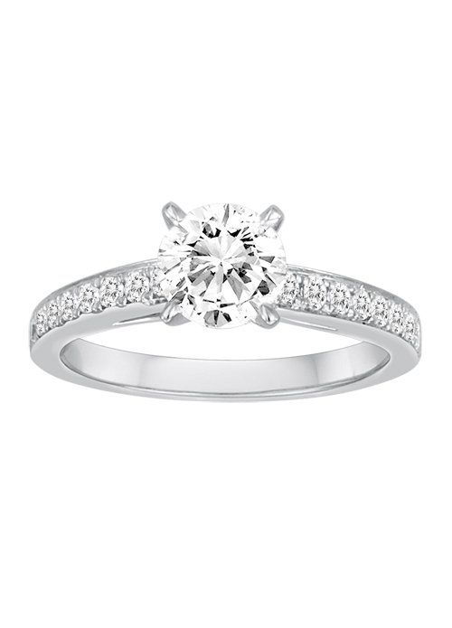 DIADORI Engagement Ring - DIADORI DFWR0600, White 18 Karat Cathedral Ring Size 6.5 With One 1.00Ct Round Cubic Zirconia And 16=0.25Tw Round Diamonds