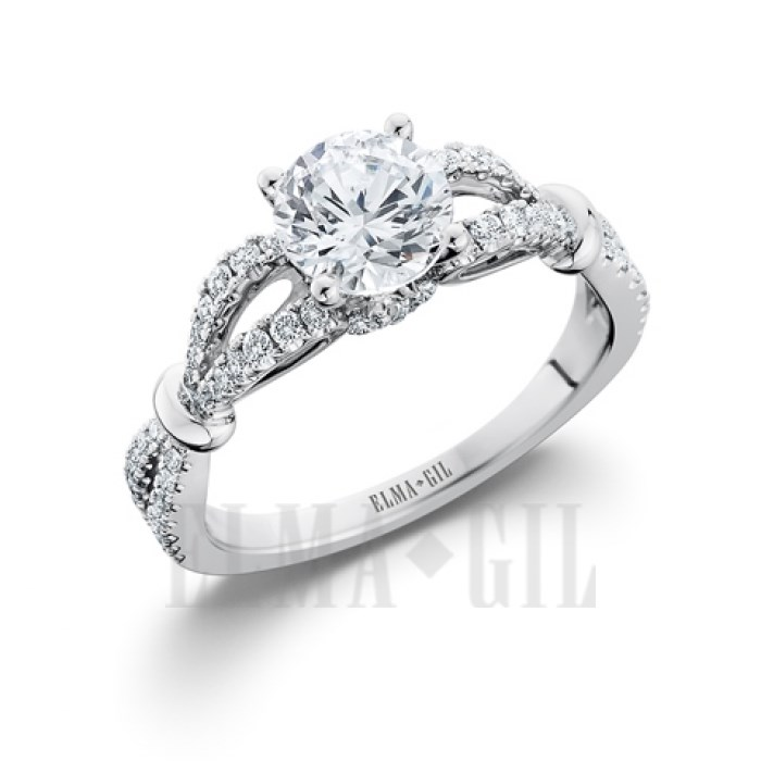 Ring - ELMA GIL DR-624 Lady's 18 Karat White  Vintage Engagement  Ring Size 6.5 With One 6.50mm Round Cubic Zirconia in Center And 66=0.38Tw Round Diamonds