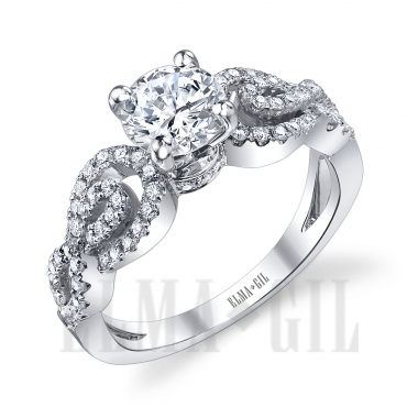 Ring - White 18 Karat Diamond Semi-Mount Ring With 68=0.48Tw Round Diamonds And One Round Cubic Zirconia  In Center. Size 6.5