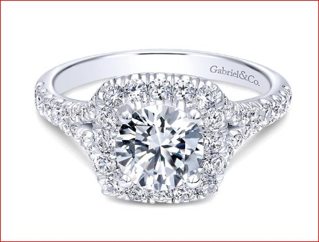 Ring - GABRIEL & CO ER11276W44JJ 14k White Gold Round Halo Engagement Ring, Center Diamond Size: 5.75 mm - 0.75 ct, Diamond Total 0.64 ctw, Gold Total:4.10 gm, Size 6.5 (can be sized up or down to fit your finger size) / Center stone sold seperately