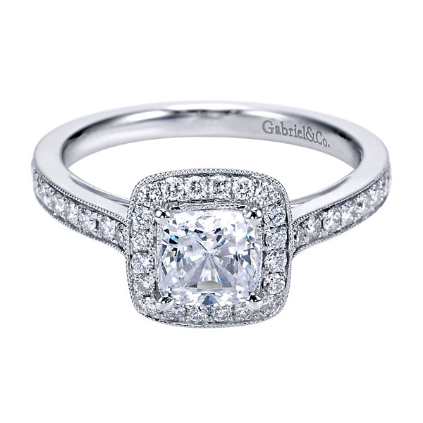 Ring - GABRIEL & CO ER7527W44JJ White 14 Karat Halo Ring With 40=0.43Tw Round G/H Si2 Diamonds Fits Cushion Cut Center Size 6.5, Center Stone Sold Seperately