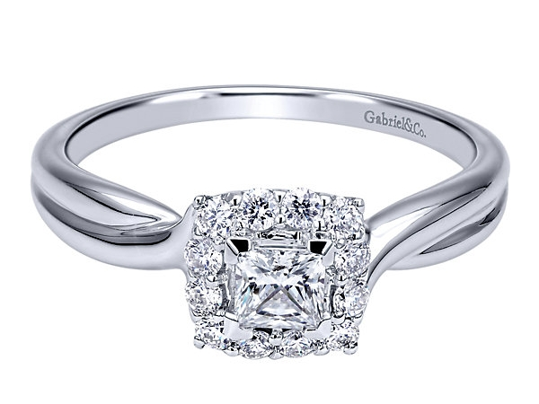 Ring - GABRIEL & CO ER911734S1W44JJ 14k White Gold Diamond Halo Engagement Ring, Style #: ER911734S1W44JJ.CSD4, Diamond Total: 0.45ctctw,  Princess cut Center Diamond Size: 3.5 mm - 0.17 ct,  and 12=.28ct , Crown Type: Not changeable, Category:Engagement Ring, Collection:Contemporary, Style:Halo, Diamond Total:0.45 ct, Stone Shape:Princess Cut, Width: 7.50 mm, Thickness: 5.70 mm, Bandwidth: 1.90 mm, Size: 6.5