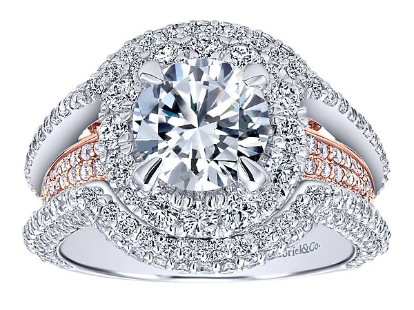 Ring - Gabriel & Co Two Tone White/Rose Alloy Contemporary Ring  With One =1.25Ct Round Cubic Zirconia And 247=1.95Tw Round Cubic ZirconiasSize 6.5 (Pricing reflects 18 Karat)