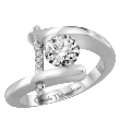 Ring - CLAUDE THIBAUDEAU PLT-33313-MP White 18 Karat  Semi-Mount Ring With 6=0.04Tw Round G/H VVS-VS Diamonds Size 5.5
