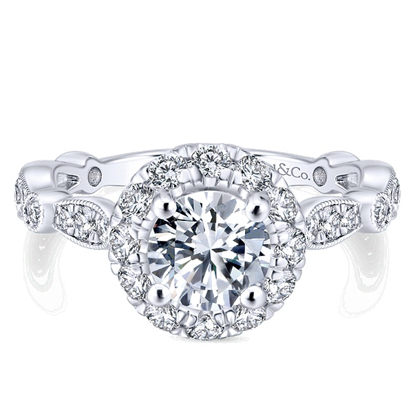 Ring - White/ Rose Alloy Semi-Mount Halo Ring Size 6 With 78=1.04Tw Round Cubic Zirconias