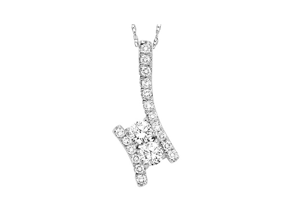 Pendant - White 14 Karat Twogether Pendant With 19=0.48Tw Round G/H Si3 Diamonds With 18 inch Chain