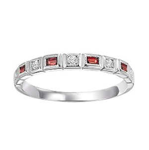Fashion Ring - Lady's 10kt White Gold Stackable Half Anniversary Band / Fashion Ring, Size 7 With 4=0.20Tw Emerald Garnets And 5=0.08Tw Round Diamonds, Gm: 1.2