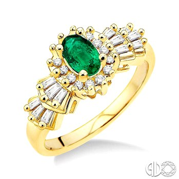 Fashion Ring - Lady's Yellow 14 Karat Ballerina Fashion Ring Size 7 with one 6x4mm Oval Emerald, 12=Baguette H/I SI3 Diamonds and 14= Round H/I SI3 Diamonds with a combined weight of .33 cts