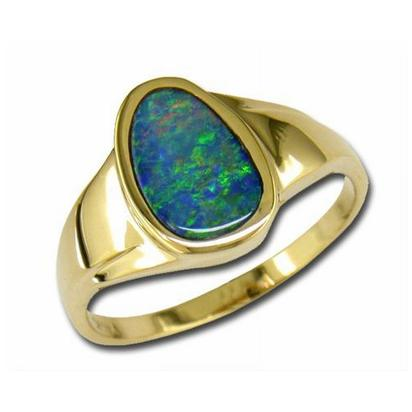 Fashion Ring - Parle Lady's Yellow 14 Karat Fashion Ring  With One Various Shape Australian Opal Doublet Size 7