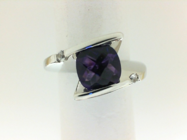 Fashion Ring - Frank Reubel Designs Lady's White Sterling Silver Fashion Ring  With One =2.00Ct Round Amethyst And 2=0.10Tw Round White Sapphires Size 6.5