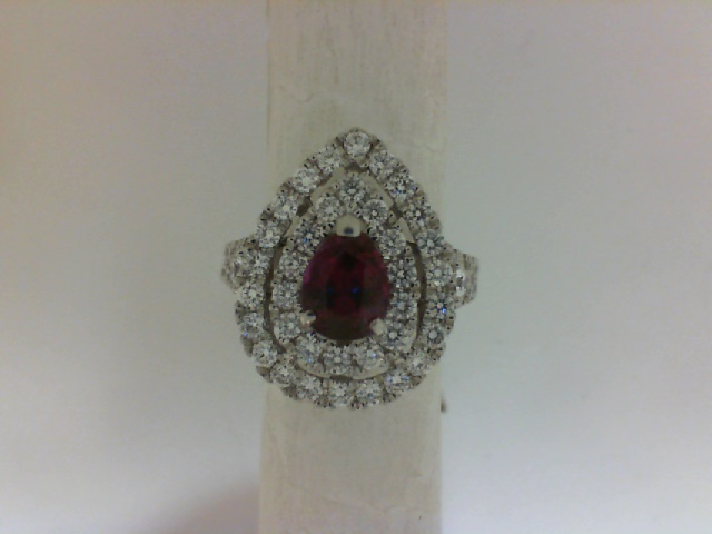 Fashion Ring - Lady's White 18 Karat Contemporary Fashion Ring  With One= 1.36Ct Pear Shape Ruby And 62  Round Diamonds Size 6.5