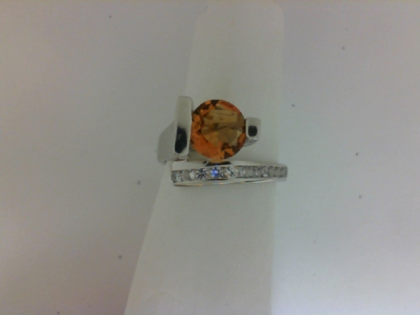 Fashion Ring - Lady's White Sterling Silver Contemporary Fashion Ring Size 7 With One 1.50Ct Round Citrine And 11=0.22Tw Round White Sapphires