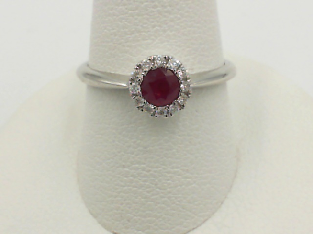 Fashion Ring - Lady's White 14 Karat Fashion Ring Size 7 With One 0.29Ct Round Ruby And 12=0.08Tw Round Diamonds