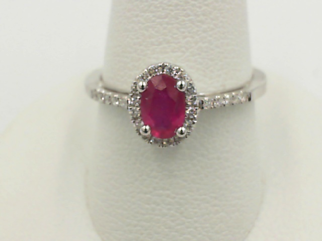 Fashion Ring - Lady's White 14 Karat Fashion Ring Size 7 With One 0.43Ct Oval Ruby And 26=0.11Tw Round Diamonds
