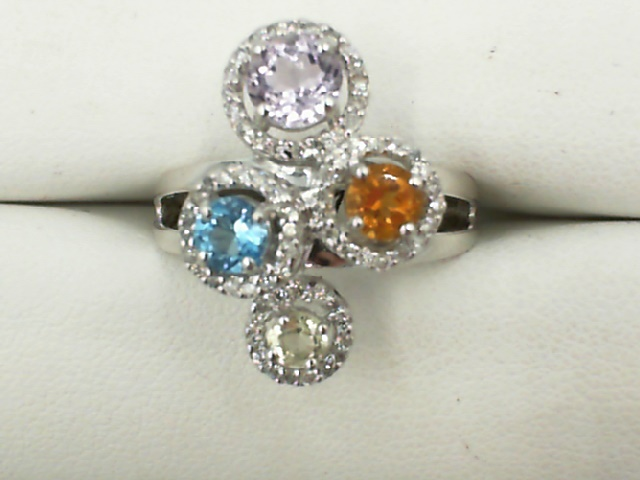 Fashion Ring - Lady's White 14 Karat Free Form Fashion Ring Size 7 one Round Amethyst one Round Citrine one Round Blue Topaz one Round Peridot CLR=1.25tw 0.28tw Round Diamonds