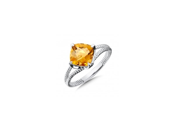 Fashion Ring - Colore Lady's White Sterling Silver Rope Fashion Ring Size 7 With One 8.00X8.00Mm Cushion Citrine