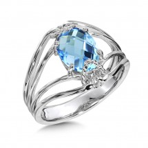 Fashion Ring - Colore Lady's White Sterling Silver Fashion Ring Size 7.25 With One Oval Blue Topaz