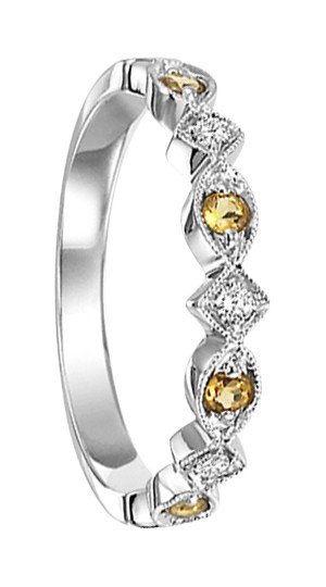 Fashion Ring - Lady's 10kt White Gold Stackable Half Anniversary Band / Fashion Ring, Size 7, With 4=0.13Tw Round Citrines And 3=0.06Tw Round Diamonds, Gm: 1.3