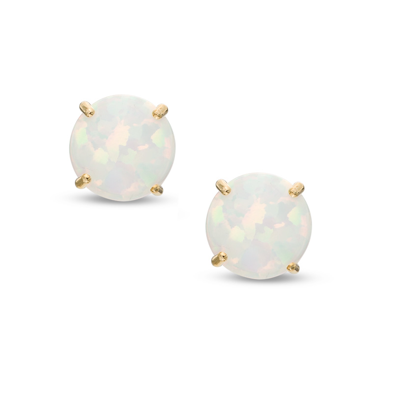 Earrings - 4mm Round Cabachon Opal  birthstone  E/R