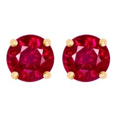 Earrings - 4mm rd ruby b-stone E/R