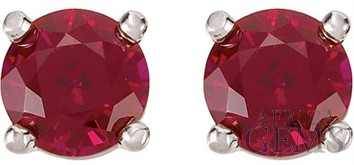 Earrings - 5mm round ruby b-stone E/R