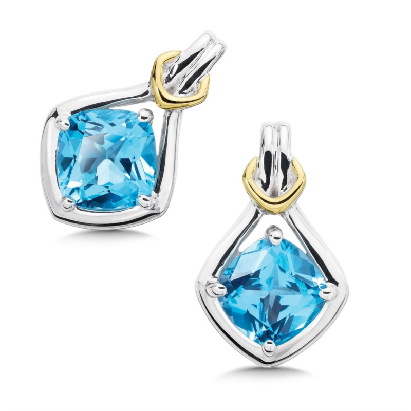 Earrings - COLORE SG LZE265-BT Sterling Silver, 18K Gold and Blue Topaz Earrings. A beautiful set of sterling silver and 18kt gold earrings with an 7x7 mm blue topaz center. Center Shape: Cushion / May be used as an alternate for November (which is Imperial Topaz) December (which is Tanzanite, Blue Zircon, or Turquoise) Birthstones