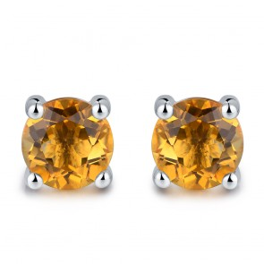 Earrings - Lady's White 14 Karat Stud Earrings With 2=5.00Mm Round Citrines