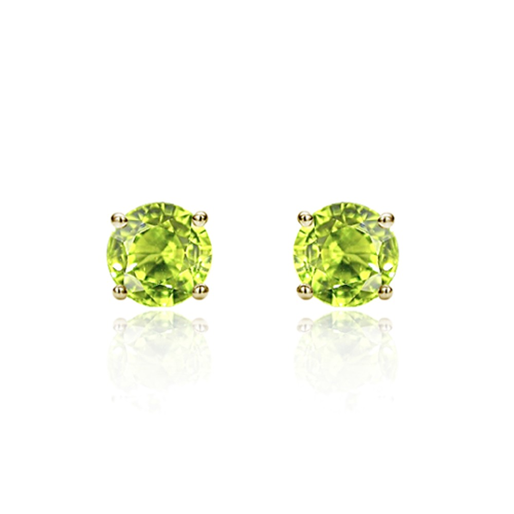 Earrings - Lady's White 14 Karat Stud Earrings With 2=3 mm Round Peridot