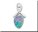 Pendants - Lady's White 14 Karat Australian Opal/Diamond Pendant With One Various Shape Opal And One= 0.02Ct Round Diamond