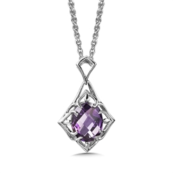Pendants - Colore Lady's White Sterling Silver Drop Pendant With One Oval Amethyst