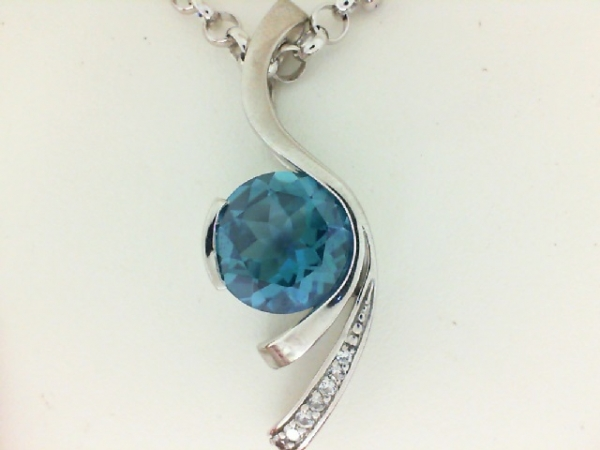 Pendants - Frank Reubel Designs Lady's White Sterling Silver Pendant With One= 6.00Ct Round Carribean  Blue Topaz And 7=0.11Tw Round White Sapphires  (chain not included)