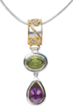 Pendants - Michou Lady's Two Tone Sterling Silver & 22K Vermeil Drop Pendant With One Oval Peridot And One Pear Amethyst  Comes with a 16-18