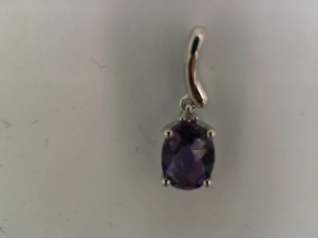 Pendants - Lady's White 14 Karat Pendant With One Oval  5x7mm Amethyst And One Round Diamond