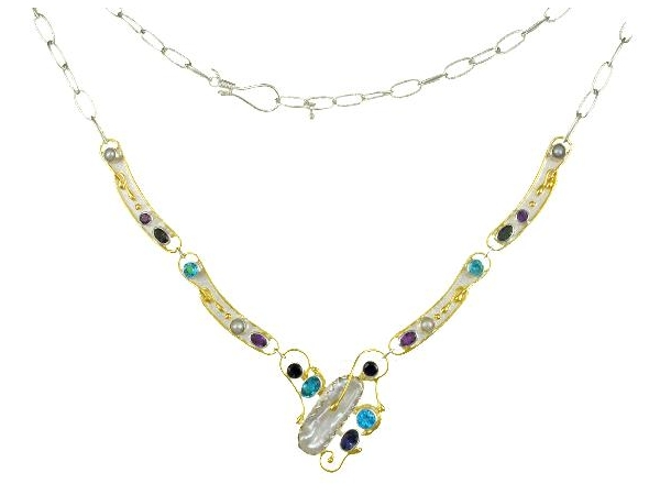 Necklace - Sterling Silver/ 22k Vermiel Necklace With Fresh Water Pearls, Iolite, Amethyst and Blue Topaz, Length 18 Inches
