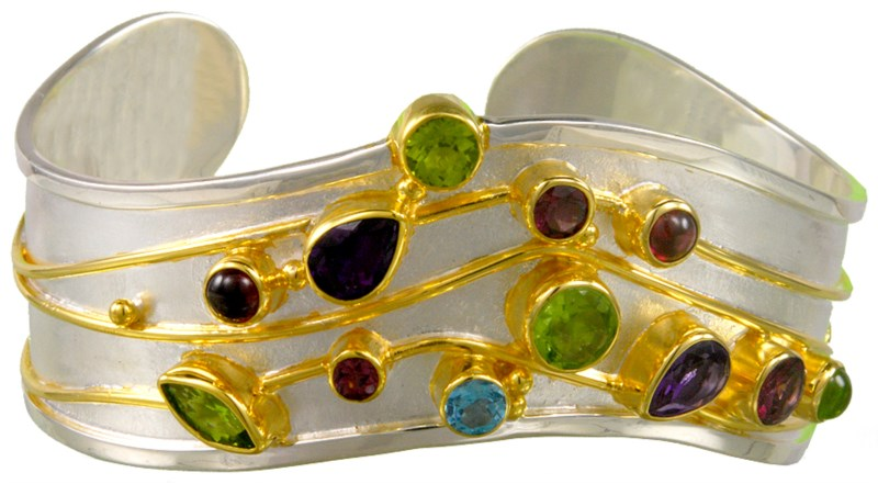 Bracelet - Michou Lady's Two Tone Sterling Silver and 22Kt Vermeil Matte' Finish  Cuff Bracelet With Stones, 2= Pear Amethysts, 2= Cabochon Amethysts, 3= Round Peridots, One Marquise Peridot, 3= Round Rhodolite Garnets, One Round Blue Topaz