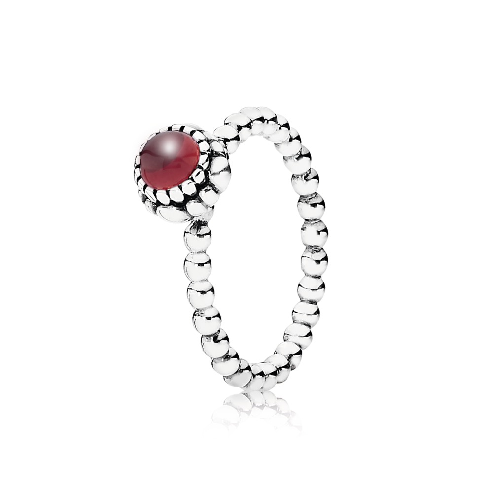 Pandora Ring - Birthday Blooms, January, Garnet