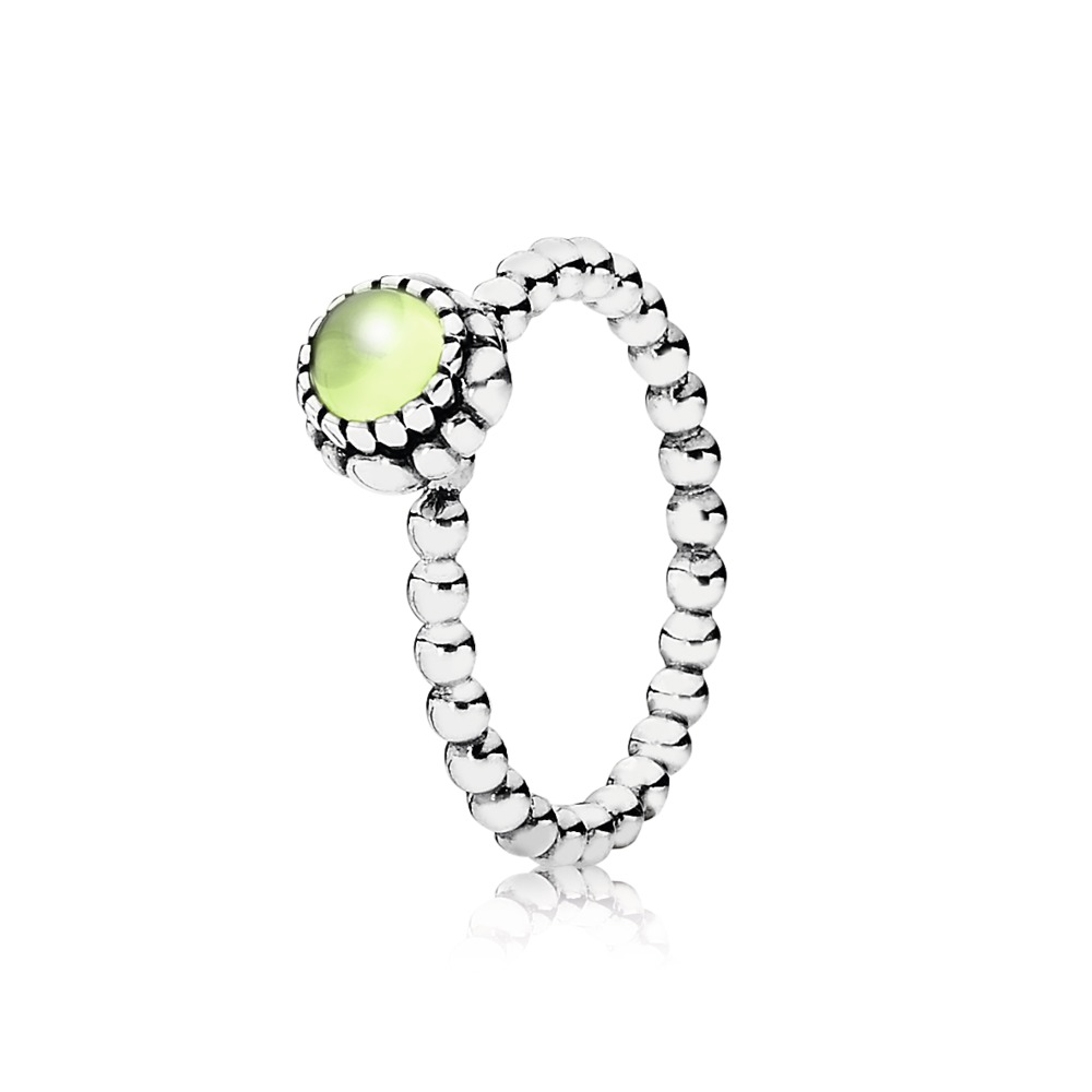 Pandora Ring - Birthday Blooms, August, Peridot