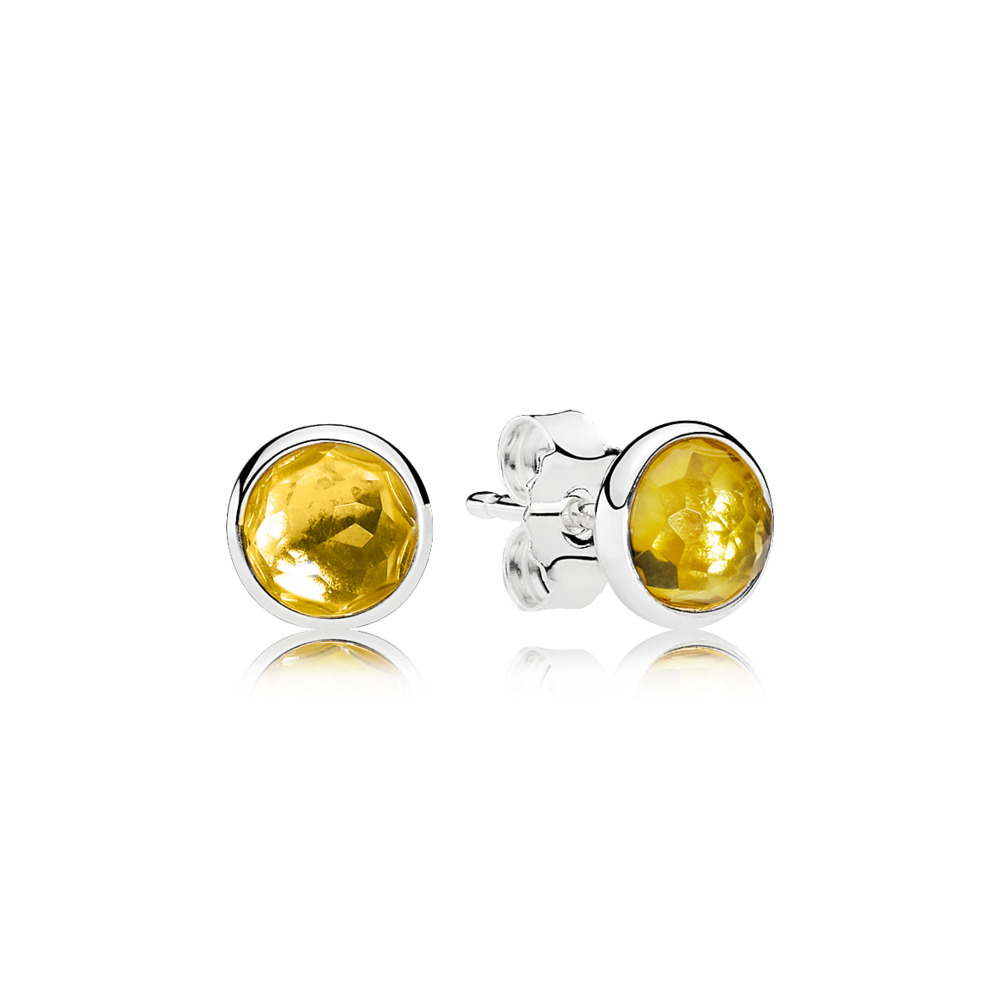 PANDORA EARRINGS - Earring Studs November Droplets with Citrine