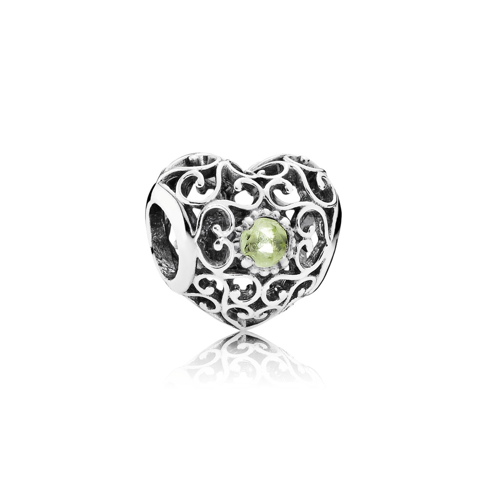 Pandora charms - August Signature Heart, Peridot