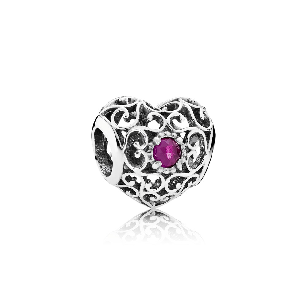 Pandora charms - July Signature Heart, Synthetic Ruby