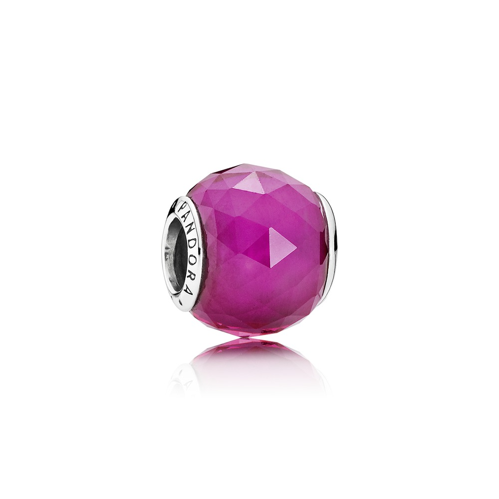 Pandora charms - Geometric Facets, Synthetic Ruby