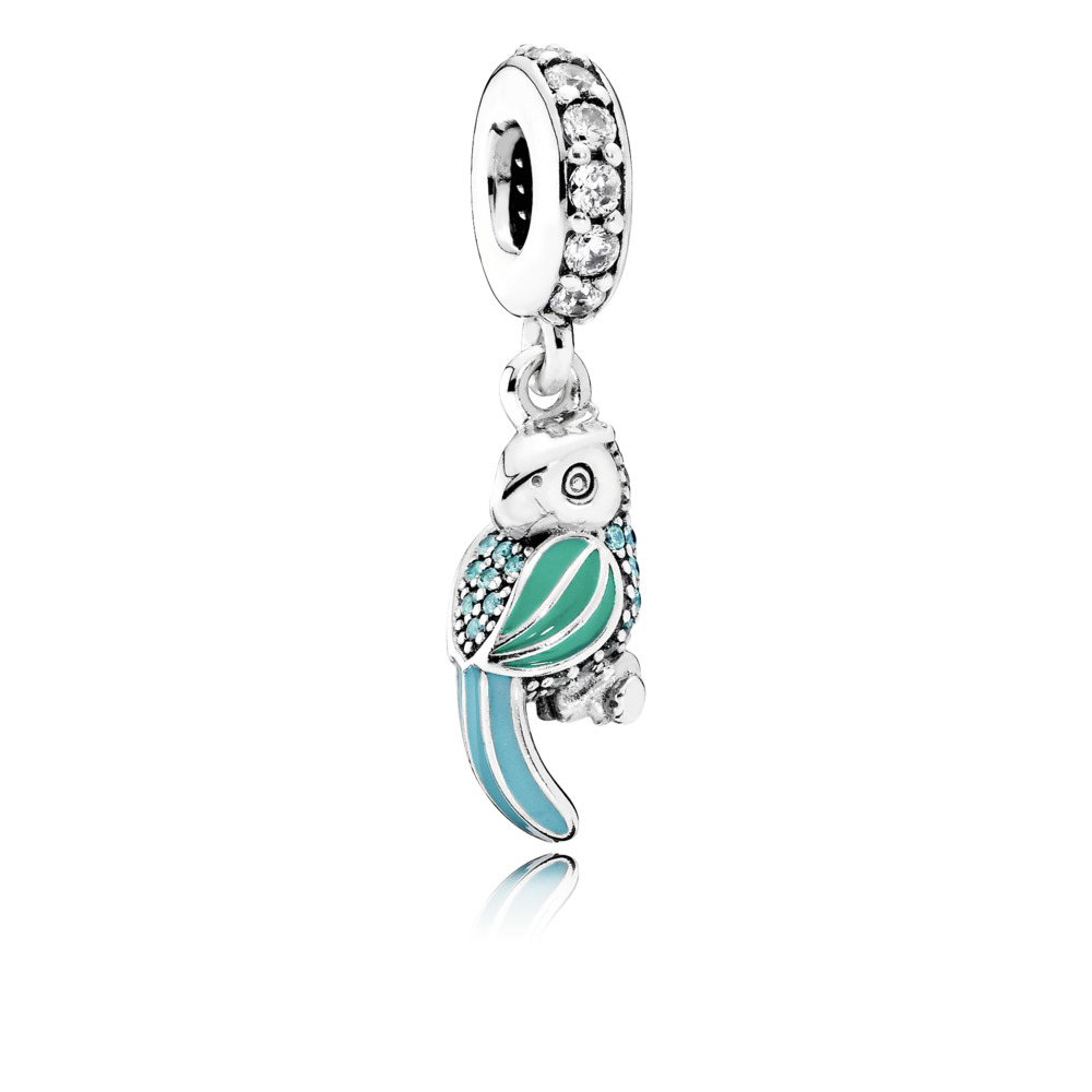 Pandora charms - Dangle Tropical Parrot with  Tropical Green & Turquoise Enamel, Teal & Clear CZ